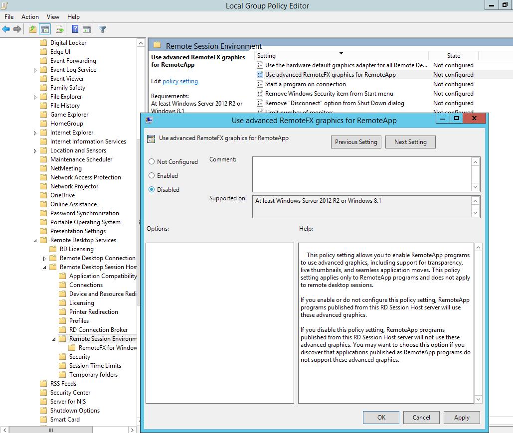 Використовувати додаткову графіку для віддаленого програми RemoteApp